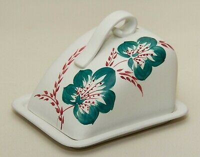 Radford Hand Painted Vintage Cheese Butter Wedge Dish & Lid Turquoise Red Floral • 25£