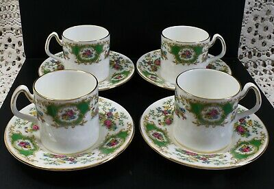 Lovely Set Of 4 Coalport Fine Bone China Broadway Green Coffee Cans & Saucers • 28.99£
