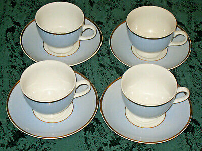 4 X Royal Doulton Bruce Oldfield Blue And White Gold Rim Cups And Saucers • 18.99£
