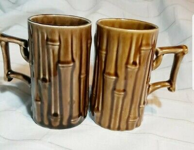 Holkham Pottery..VINTAGE TWO Bamboo Mugs 1960 To 1979 T102 Brown Glaze England  • 14.99£