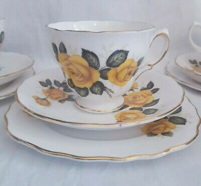 Royal Vale..vintage Yellow Roses Bone China Teacup Saucer & Side Plate Trio Sets • 12.99£