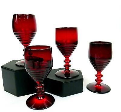 Paden City Glass #991 4 Pc Ruby Red Penny Line 4 1/4  Wine Glasses 1931-1951 • 48.11£
