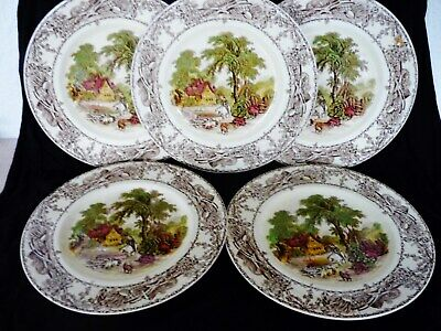 ROYAL STAFFORDSHIRE  5 X ' RURAL SCENES ' 8.3/4'' DINNER PLATES BY CLARICE CLIFF • 39.99£