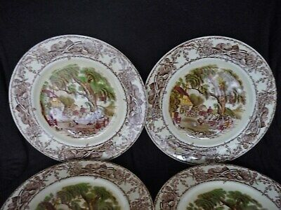 ROYAL STAFFORDSHIRE ''RURAL SCENES'' 4x SALAD/ DESSERT PLATES BY CLARICE CLIFF • 24.99£
