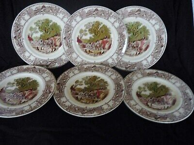 VINTAGE ROYAL STAFFORDSHIRE 'RURAL SCENES' 6 X TEA/SIDE PLATES BY CLARICE CLIFF • 29.99£