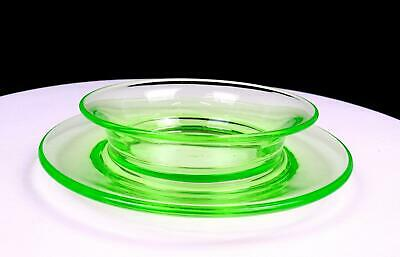 US GLASS TIFFIN SIGNED GREEN VASELINE Glass 6 1/2  BOWL AND UNDERPLATE 1920s • 22.62£