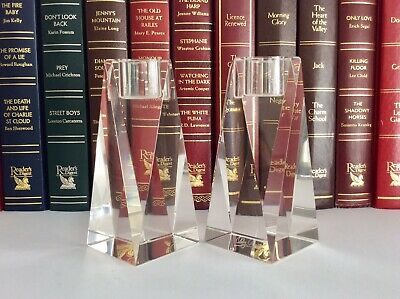 """Stunning Pair Of OLEG CASSINI Contemperary Crystal Cut Glass 4"""" Candle Holders • 35£"""