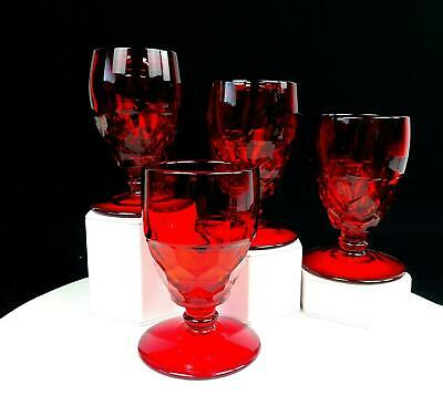 Viking Glass #6900 Georgian Ruby Red Rare 4 Piece 5 1/4  Low Water Goblets 1940 • 30.31£