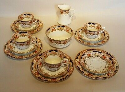 Royal Vale HJC Longton 16 Pc Tea Set Jug Sugar Bowl Side Plates Saucers Cups • 15.20£