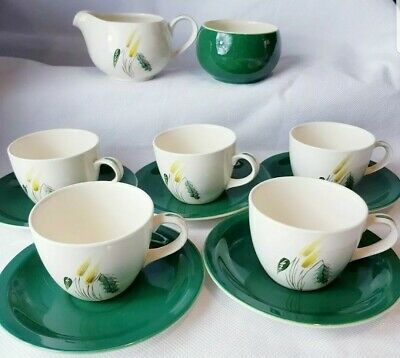 Simpsons(Potters)Ltd  Pastoral  5 X Tea Cups/saucers & Milk Jug/Sugar Bowl 1950s • 30£