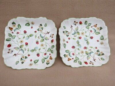X 2 Vintage Old Foley James Kent Wild Strawberries Square Dishes • 28£
