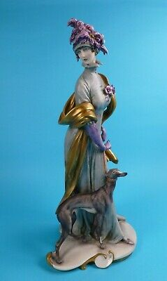 Rare Giuseppe Cappe Capodimonte Figure Of An Elegant Lady With Whippet Dog • 125£