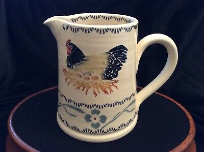 Eden Pottery Irish Pottery Jug With Chicken Design Hand Made, Small Chip • 15£