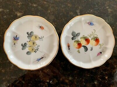 Herend Hungary Porcelain Pin Trays X TWO Hand-painted Fruits, Beetles, Butterfly • 27.99£