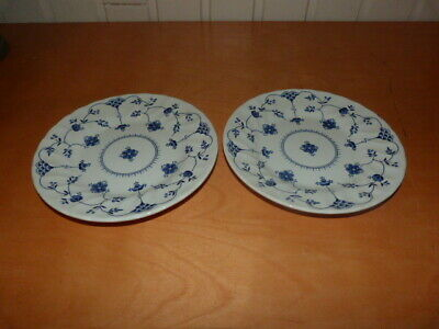 2 Collectable White Churchill Round Staffordshire Side Plate Blue Floral W17cms • 10.99£