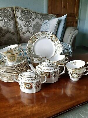 Royal Crown Derby Green Panel  22 Piece Tea Set • 650£