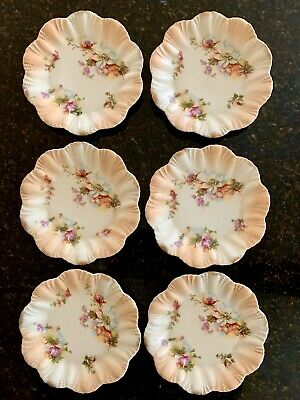 Antique Blush Peach Porcelain Plates X Six Hand-painted Continental? Unused! • 35£