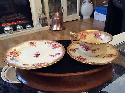 Antique Hammersley Dresden Sprays Trio, Hand Painted C1890, Cup Has Small Chip • 10£