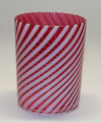 Cranberry Opalescent Swirl Optic Tumbler • 16.19£