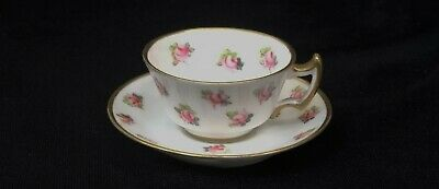Fine Antique ROYAL CROWN DERBY MINIATURE CUP & SAUCER Scattered Pink Roses 1911 • 45£