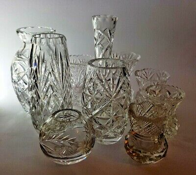 10 Vintage Wedding Table Ideal Mixed Flower Bud Vases Cut Glass & Crystal • 29.48£