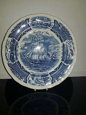 Fair Winds' The Friendship Of Salem'Pattern Plate, Blue & White   • 1.20£