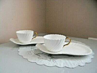 Two Minton White Fife T.v Cups And Saucers • 7.20£