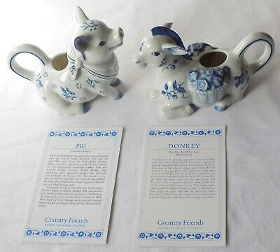 2 Country Friends Porcelain Animal Jugs, Creamers. Donkey & Pig.by Hallie Greer • 19.99£
