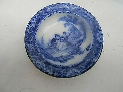 Sml.Miniature Doulton Burslem Watteau * FLOW BLUE * Plate (Only 3.75  Diameter) • 9.99£