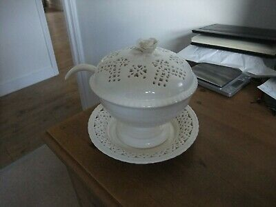 Superb Hartley Greens & Co. Leeds Pottery Cream Sauce Tureen With Ladle & Saucer • 13.99£