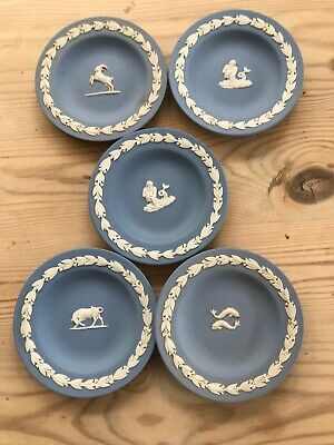 Five Blue Wedgewood Jasper 4.5 Inch Signs Of The Zodiac Dishes • 6.40£