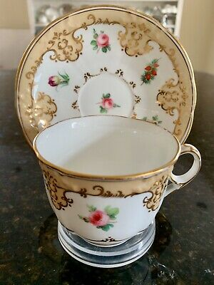 Antique English Teacup & Saucer Coalport? Roses, Florals, Embossed, Gilded • 29.99£