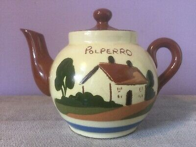 Vintage TORQUAY MOTTO WARE MINIATURE TEAPOT POLPERRO & JOAN The WAD (Imperfect) • 12£