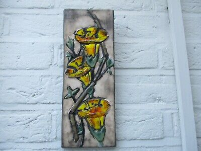 A Signed C1950 Vintage West German Art Pottery Wall Plaque-Flowers-Ruscha? • 19.99£