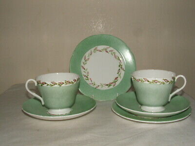Shelley Art Deco Windsor Rose Buds On Blue Ground Tea Trios Mint Truly Stunning • 4.99£