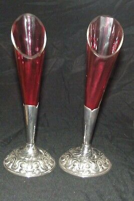 ANTIQUE PAIR OF SILVER PLATED &  Cranberry  Glass Epergne Flutes/horns/trumpets • 14.99£