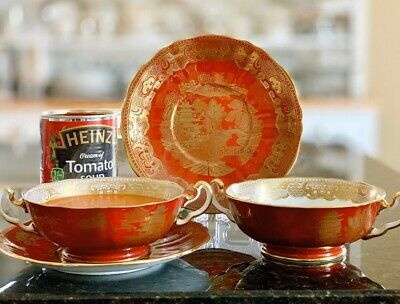 Adderley Red & Gold Willow Consommé Soup Cups & Saucers For Heinz Tomato Lovers? • 12.99£