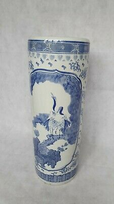 Oriental Blue White Tall Vase Chinoiserie Porcelain Umbrella Stand • 13£