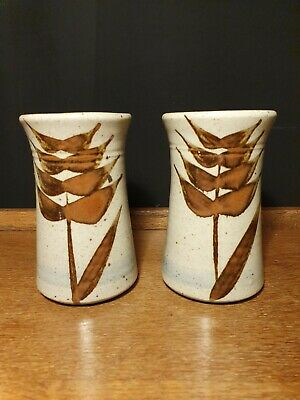 Studio Pottery Pair Of Vases Bourton On The Water • 8£