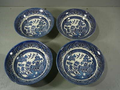 Churchill Willow Pattern 4 X  Cereal Bowls 15cm Across (D14/03)RL • 8£