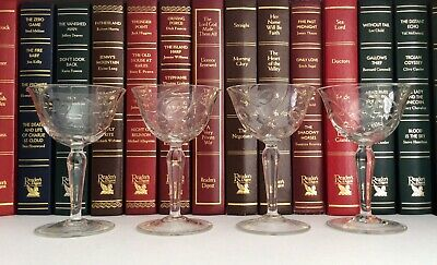 Rare Set Of 4 19th Century Incised Pattern Ogee Bowls Wine Glasses • 9.99£