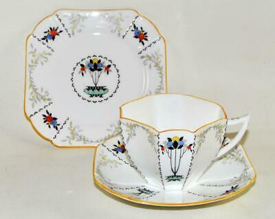 Vintage SHELLEY Tea Trio - Cup Saucer Plate - FRUIT BORDER With Yellow Rim (C) • 29.95£
