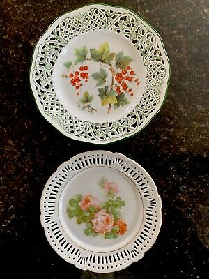 Vintage Schumann Dresden Bavarian Reticulated Wall Plate & Reticulated Roses • 15£