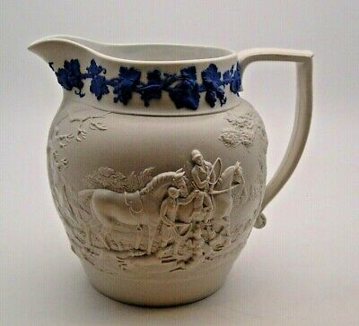 EARLY WEDGWOOD WHITE STONEWARE JUG IN THE HUNT PATTERN C.1820 - PERFECT • 39.99£