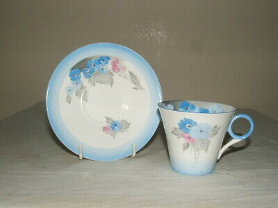 Shelley Art Deco Blue Phlox Regent Shaped Cup & Saucer Truly  Stunning • 9.99£