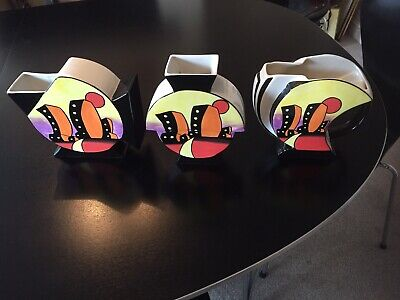 Lorna Bailey Twin Tours Vases Set Of Three Signed • 100£