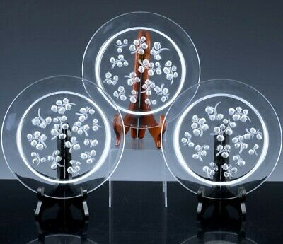 3 Very Fine Lalique France Muguet French Art Glass Satin Crystal Luncheon Plates • 29.64£