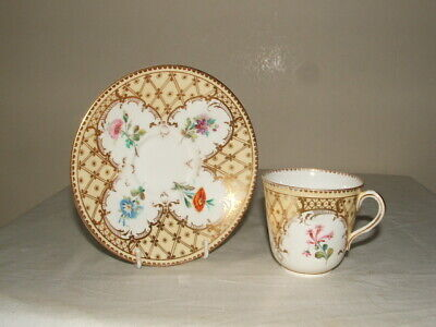 Royal Worcester Handpainted 1860 Floral Panels Jewelled Cup & Saucer Stunning • 4.99£
