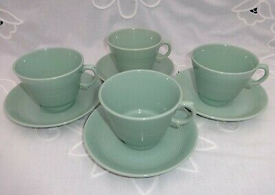 Vintage Woods Ware   Beryl   Cups & Saucers X 4 1940's WW2 Utility Ware Green • 15.99£