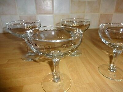 4 Vintage Champagne Saucers / Coupe Gold Decoration 4.25  X 3.25  • 9.99£